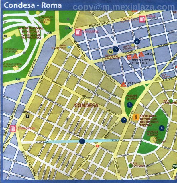 Condesa Roma Sitios de Interes - boutiques, librerías, mueblerías y tiendas de artículos novedosos. - como llegar - mapa